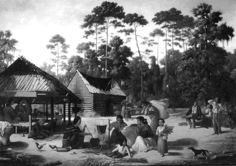 Choctaw Village near the Chefuncte, by Francois Bernard, 1869, Peabody Museum – Harvard University. The women are preparing dye to color cane strips for making baskets.