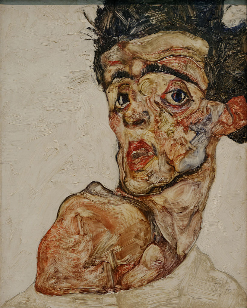 Self portrait with raised bare shoulder Egon Schiele 1912